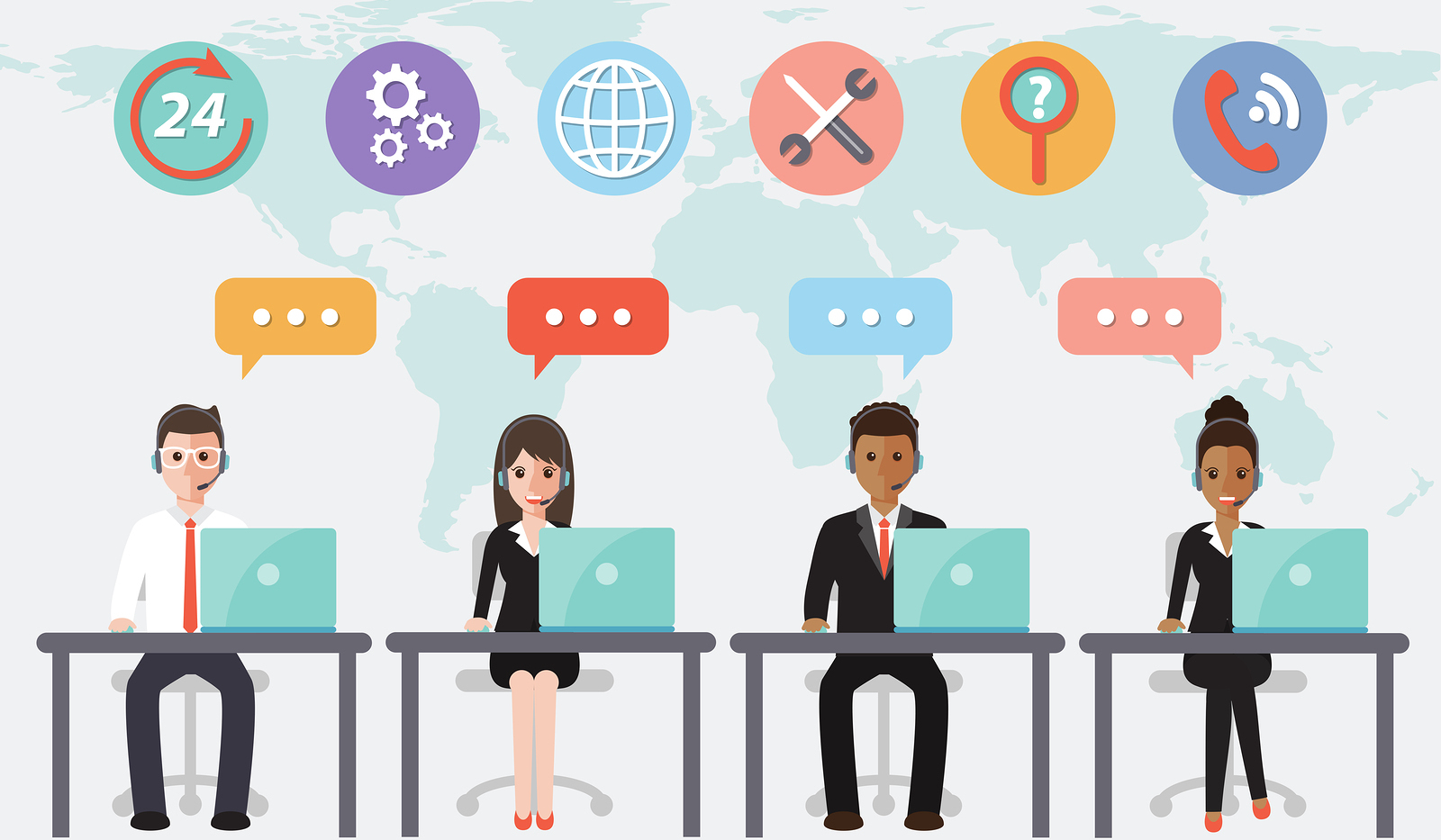 call center and customer service people in office