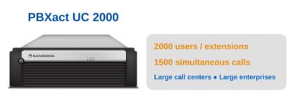 Lý tưởng cho Lage Contact Center hoặc Enterprise Office Deployments Hỗ trợ 2000 mở rộng / người dùng và 1500 cuộc gọi đồng thời Có thể nâng cấp lên 5000 trường / người dùng Mở SIP Trunk & PSTN tích hợp